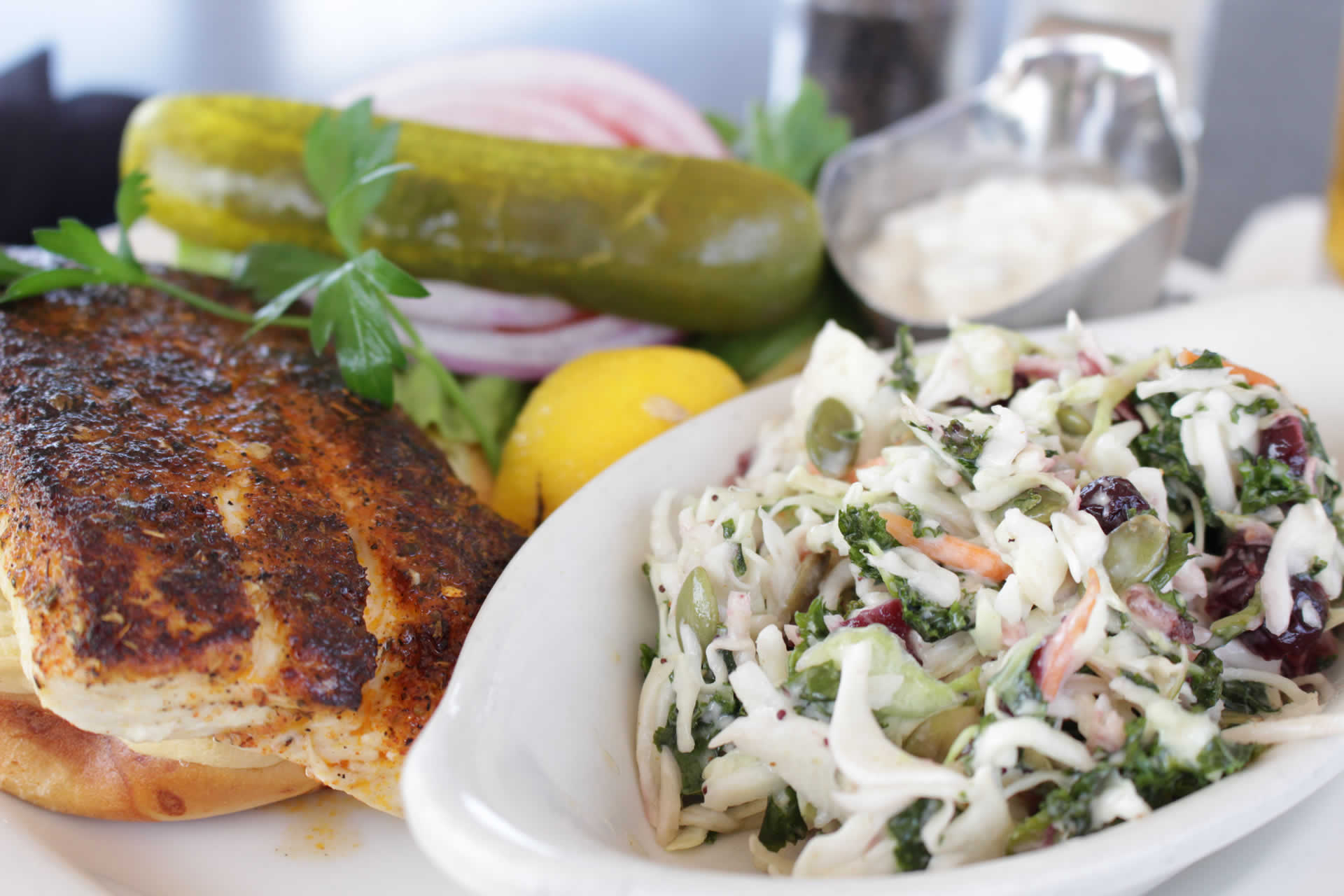 Blackened Mahi with Kale Slaw
